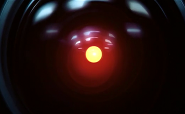 """One of HAL200's glowing red """"eyes""""."""