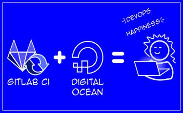 "A blueprint-esque diagram reading ""Gitlab CI + DigitalOcean = Devops Happiness"""