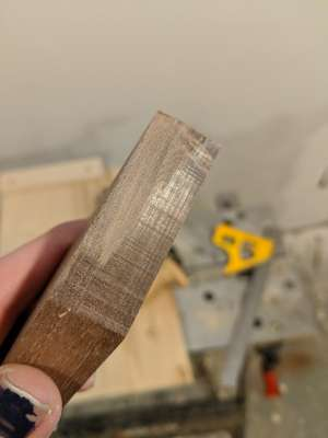 The trued edge of a planed cut