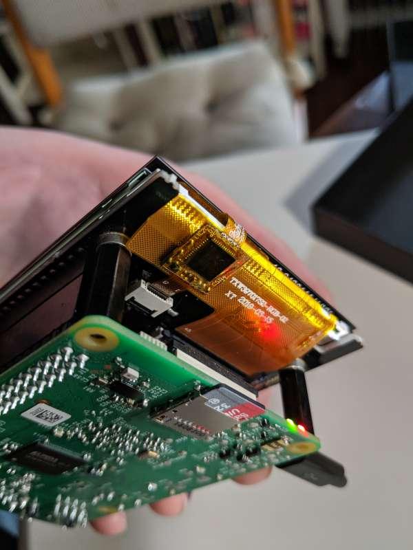 A closeup of the Hyperpixel flat flex cabling.